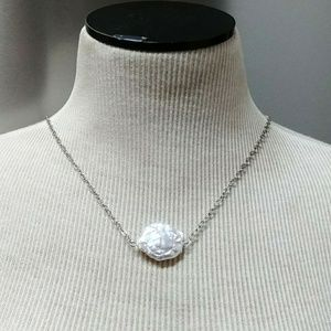 Genuine Baroque white coin freshwater pearl